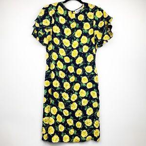 LILHLI Floral Ruffle Sleeve Silk Midi Dress